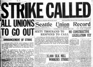 Union Record Monday, February 3, 1919. Source: https://en.wikipedia.org/wiki/Seattle_General_Strike