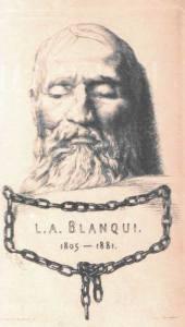 Masque mortuaire (Gravure de F. Braquemond) - Blanquis dødsmaske. Gravering af F. Braquemond. Public Domain.