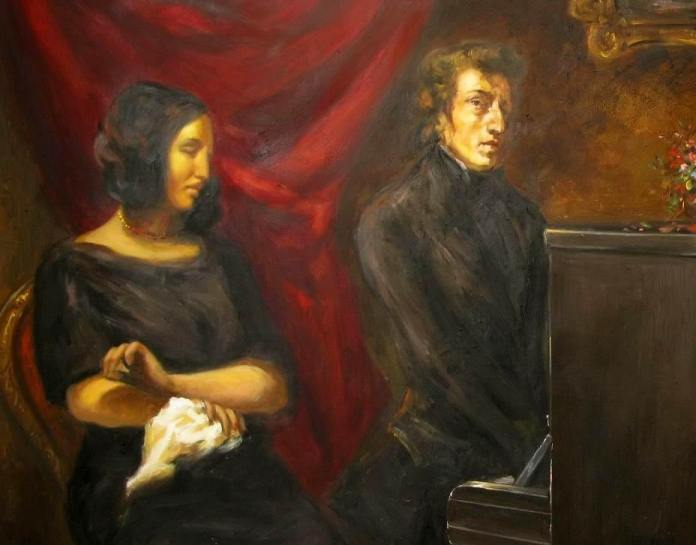 Painting oil on canvas of Frédéric Chopin and George Sand based on the circa 1837 preliminary sketch of Eugene Delacroix's joint portrait of Frédéric Chopin and George Sand by Eugène Delacroix (1798–1863). 2008. Current location: Louvre Museum. Public Domain.