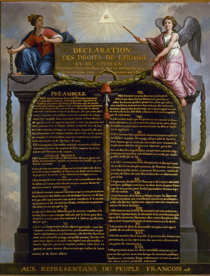 """Representation of the Declaration of the Rights of Man and of the Citizen in 1789 Includes """"Eye of providence"""" symbol (eye in triangle). Date: circa 1789. Oil on panel by Jean-Jacques-François Le Barbier (1738–1826). Carnavalet Museum, Rue de Sévigné, Paris, France"""