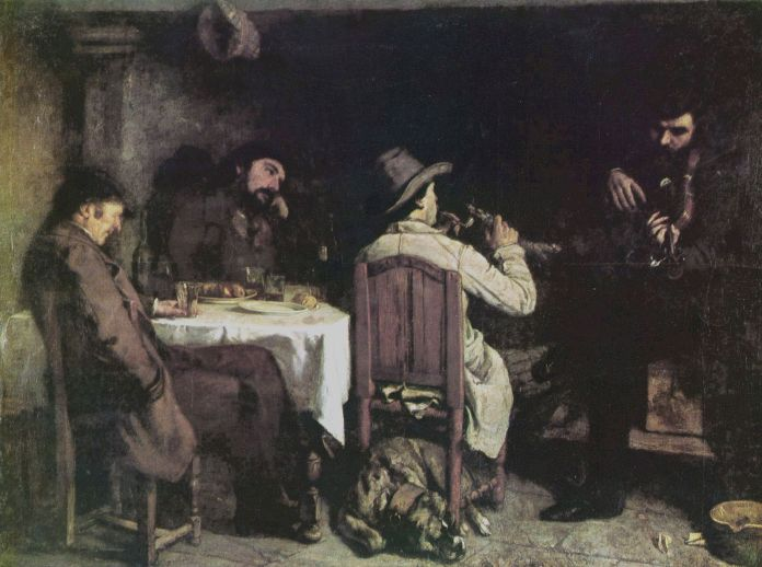 Gustave Courbet: Une après-dinée à Ornans/Efter middag i Ornans, 1849. Maleriet hænger på Palais des Beaux-Arts de Lille. The Yorck Project (2002) 10.000 Meisterwerke der Malerei (DVD-ROM), distributed by DIRECTMEDIA Publishing GmbH. Public Domain, https://commons.wikimedia.org/w/index.php?curid=149670.