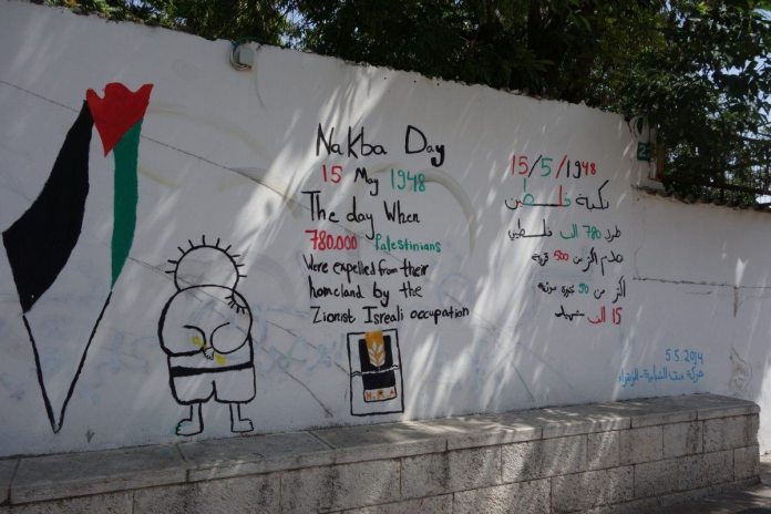 Al Nakba graffiti på en mur de Nazareth, 20 May 2014. Source: Own work, Photo: PRA (CC BY-SA 4.0)