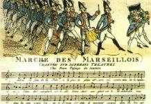 """""""Kampsang for Rhin-Armeen"""" (Chant de guerre pour l'Armée du Rhin) til forsvar for den revolutionære unge franske republik, blev republikkens kampsang 1795, """"Marseillaisen"""", og fransk nationalsang. Source: https://en.wikipedia.org/wiki/File:Marche-des-marseillois.jpg"""