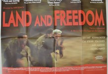 "Poster for the film ""Land and Freedom"" directed by Ken Loach."
