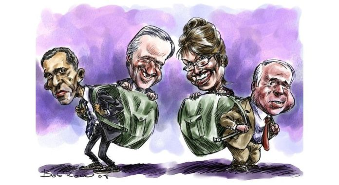 Obama and McCain with their vices Biden and Palin, september 23,2008. Drawing: Roberto Bobrow. (CC BY-NC-ND 2.0).