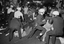Police clash with protestors at the Democratic National Convention in Chicago, August 27, 1968