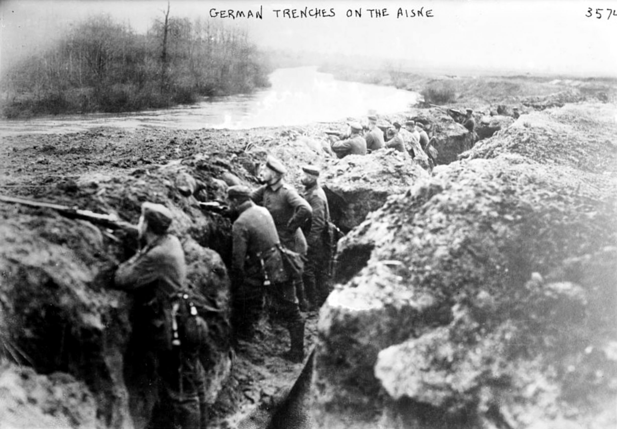 German Trenches on the Aisne during the First World War. The photograph is undated. The men are not wearing helmets so this is early in the war, possibly 1914 or 1915. Source: Library of Congress. Author: Bain News Service (publisher) Permission (Reusing this file)