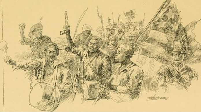 Drawing from the slave rebellion in Louisianna 1811. Book illustration by L. J. Bridgman. From M. Thompson (1888). The Story of Louisiana. Boston: Berwick & Smith.