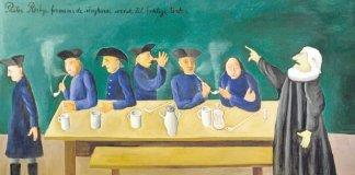 """Tømrerstrejken 1794 - Maleri af Hans Scherfig (1977) Teksterne på maleriets felter (fra venstre): """"Politimester Flindt, 1. august 1794/ Til Tømrerkroen kækt du kom / i Ordensmagt med stærke Svende - / Pastor Rørbye formaner de strejkende svende til fredelige tanker"""". Hans Scherfigs maleri (1977) af Tømrerstrejken. Tømrerne på kroen i Adelgade, hvor de opsøges af både politi og kapellan. Maleriet hang tidligere i Land & Folks kantine. Siden 1980 hænger det i ABA's mødesal Fra artiklen Tømrerstrejken 1794 på Leksikon.org. https://www.leksikon.org/art.php?n=4961"""