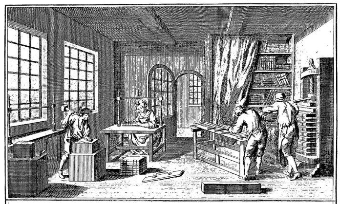 Illustration fra Diderots Encyclopédie, udg. i Frankrig 1751-1766, som viser et typisk bogbinderi fra perioden.
