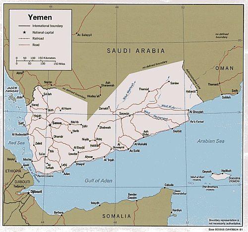 Kort over Yemen