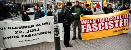 Norsk anti-fascistisk demonstration efter 22. juli terrorangrebet