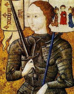 Joan of Arc, painted oil on parchment, between 1450 and 1500. Collection Archives nationales. Public Domain.