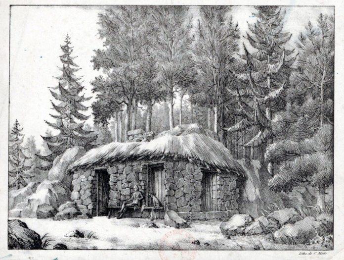 J. J. Rousseaus hytte i Ermenonville? Lithographi udført mellem 1810 og 1836 af C. Motte. Kilde Gallica.bnf.fr/ Bibliotéque nationale de France.