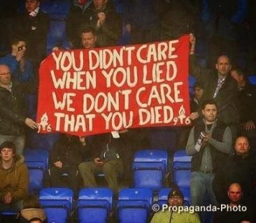 Liverpool supporters' tribute to Thatcher