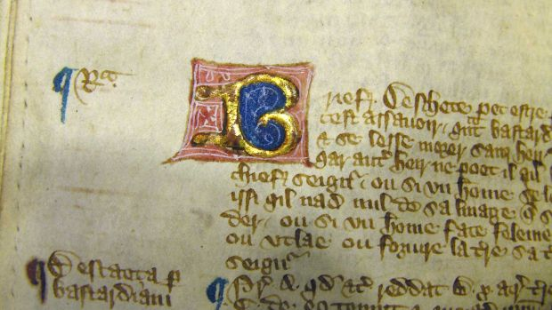 Letter B in 'Magna Carta' in a later edition from c. 15th century.