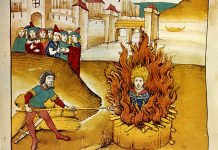Diebold Schilling the Older, Spiezer Chronik (1485): Burning of Jan Hus at the stake. Public Domain.