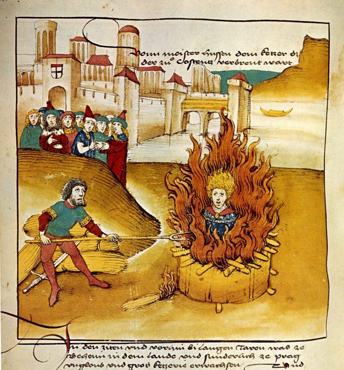 Diebold Schilling the Older, Spiezer Chronik (1485): Burning of Jan Hus at the stake. Public Domain.