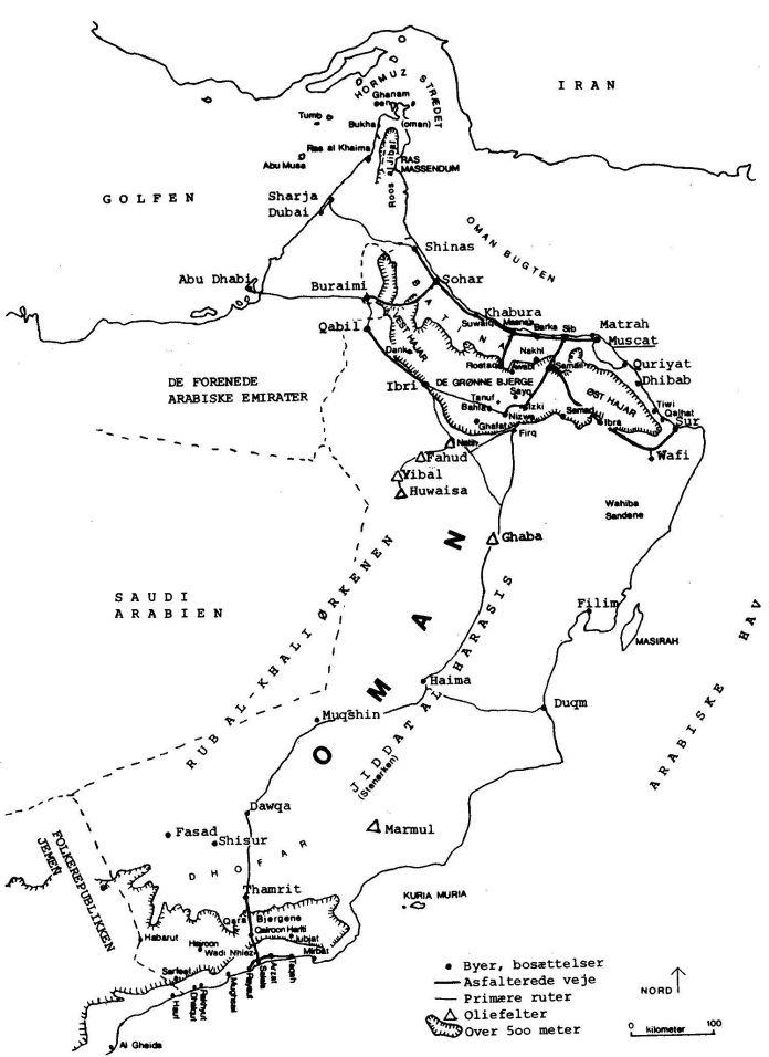 Kort over Oman og det østlige Yemen