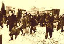 Flygtninge på jernbaneskinner ... også i 1945 (kilde: http://www.silkeborgbunkermuseum.dk/Flygtninge.htm