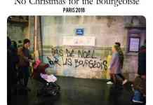 """""""Ingen jul for borgerskabet"""" (fra Paris, december 2018). Med tak til """"de gule veste"""" og røde franske (jule)hjerter."""