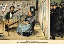 """Anarkisme i Danmark i 1905. Karikaturtegning fra 1905 i Klods Hans. Billedtekst: """"Politiet opdager et hemmeligt Møde, hvor Anarkist Rasmussen ophidser Folket."""" Tegning: Alfred Schmidt. Kilde: http://www.vimu.info/image.jsp?id=for_8_4_4_fo_bu_anarkisme_dk_doc&lang=de&u=child&flash=false"""