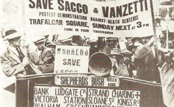 Protest to save Sacco and Vanzetti in London, England in 1921. Source: Postcard