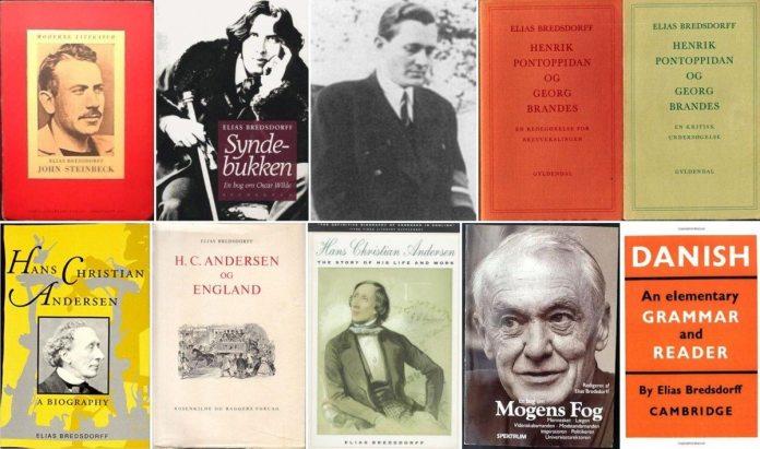 Elias Bredsdorff i 1945 og et udvalg af hans bøger