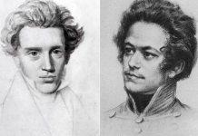Ungdomsportrætter af Søren Kierkegaard og Karl Marx