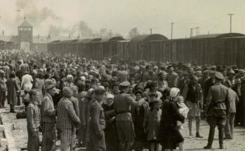 """""""Selection"""" of Hungarian Jews on the ramp at the death camp Auschwitz-II (Birkenau) in Poland during German occupation, May/June 1944. Jews were sent either to work or to the gas chamber. The photograph is part of the collection known as the Auschwitz Album. May or June 1944, Auschwitz-Birkenau, Poland. Source: Yad Vashem. The album was donated to Yad Vashem by Lili Jacob, a survivor, who found it in the Mittelbau-Dora concentration camp in 1945. Author Unknown. Public Domain"""