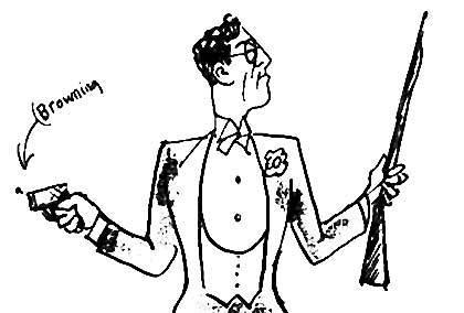 Med en mediebevidsthed, der var helt ny for forfattere, affyrede Emil Bønnelycke ved en oplæsningsaften i Politikens foredragssal i februar 1919 tre revolverskud. Den elegante og stilbevidste forfatter er her fanget af tegneren Hans Bendix. (Kilde: Varna – Tanker-i-gang.dk). Citat fra digtet på samme side.