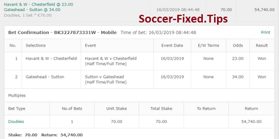 FIXED MATCHES HT FT, free fixed games today