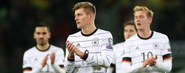 epa08002493 Germany's Toni Kroos reacts after winning the UEFA Euro 2020 Group C qualifying soccer match between Germany and Belarus in Moenchengladbach, Germany, 16 November 2019. EPA-EFE/FRIEDEMANN VOGEL