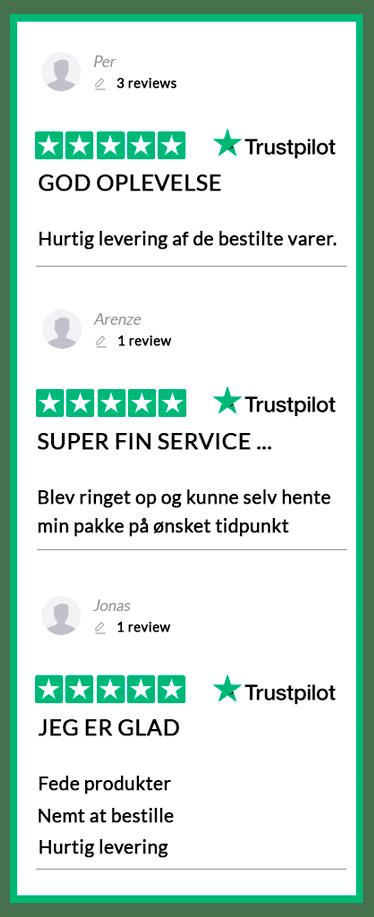 Læs alle vores anmeldelser på Trustpilot.dk