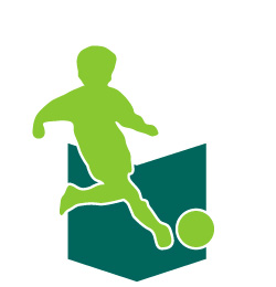 An adolescent getting ready to kick a soccer ball. Link to a soccer preactice book for U9 to U12.