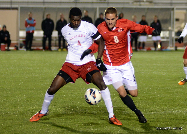 Christian Volesky, SIUE Edwardsville battles for the ball (#8 in red)