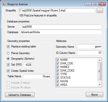 ShapeFile import adatbázisba