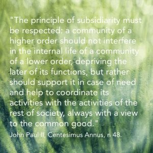 """... the principle of subsidiarity must be respected: a community of a higher order should not interfere in the internal life of a community of a lower order, depriving the later of its functions, but rather should support it in case of need and help to coordinate its activity with the activities of the rest of society, always with a view to the common good."" John Paul II, Centesimus Annus, n 48"