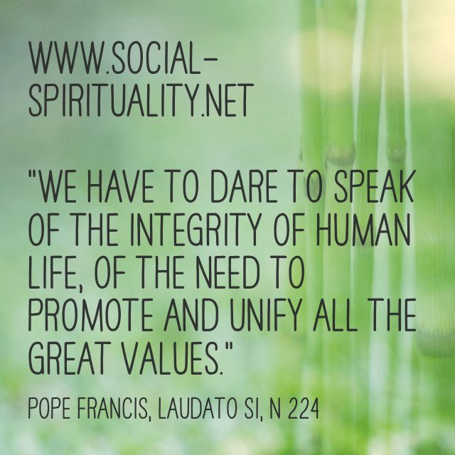 """""""We have to dare to speak of the integrity of human life, of the need to unify all the great values."""" Pope Francis, Laudato Si, n 224."""