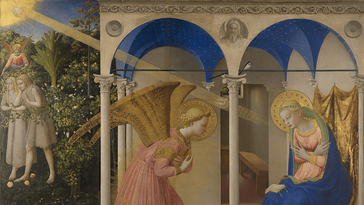 detail from Fra Angelico's painting of the annunciation