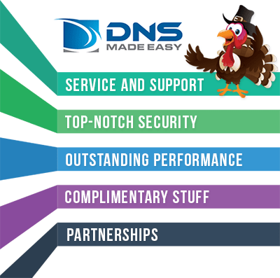 In light of Thanksgiving, DNS Made Easy shares feedback about the top 5 things that stand out among users