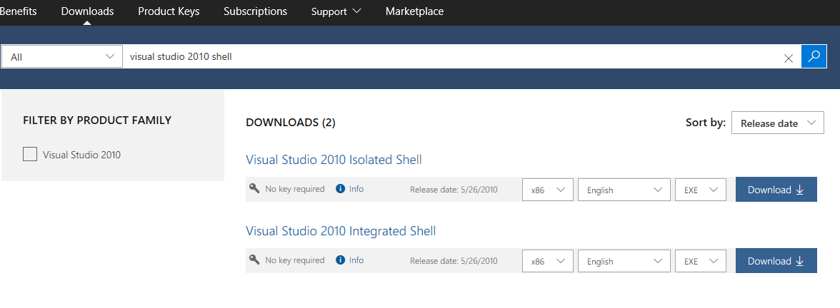 How to download Visual Studio 2010 Shell (Isolated) Redistributable