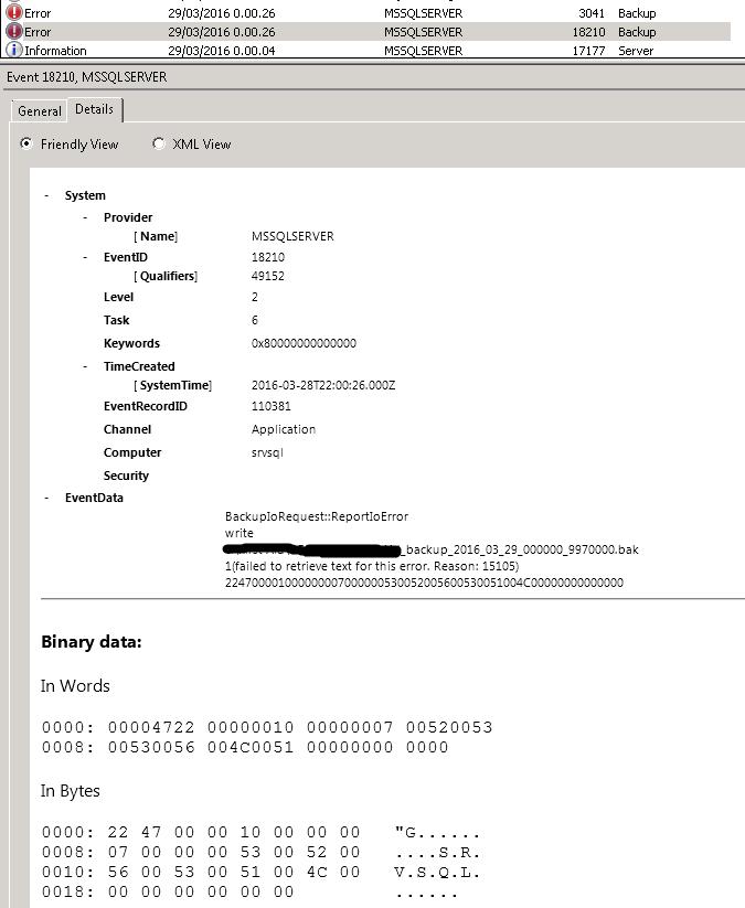 SQL Server 2008 - Backup Failing with error 1. reason 15105