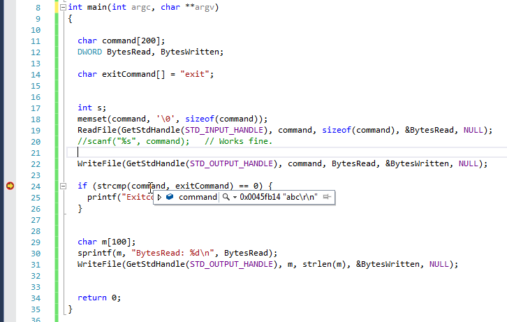 strcmp(str1. str2) doesn't work as indended when the str1 receive the value from ReadFile()