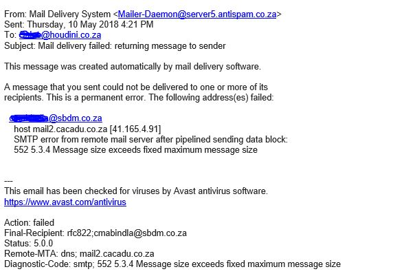 This message was created automatically by mail delivery software. Microsoft Exchange 2010