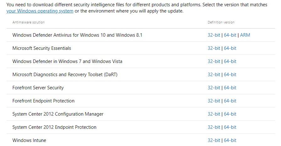 where can I manually download Windows Defender antivirus