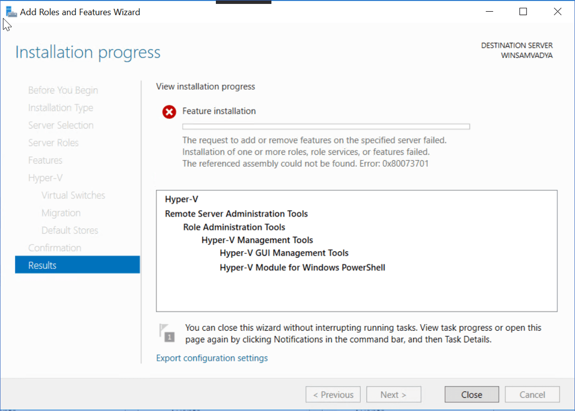 Windows server 2016 standard hyper-v installation error 0x80073701