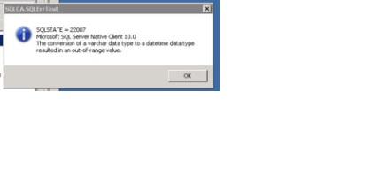 SQL Error SQLSTATE 22007