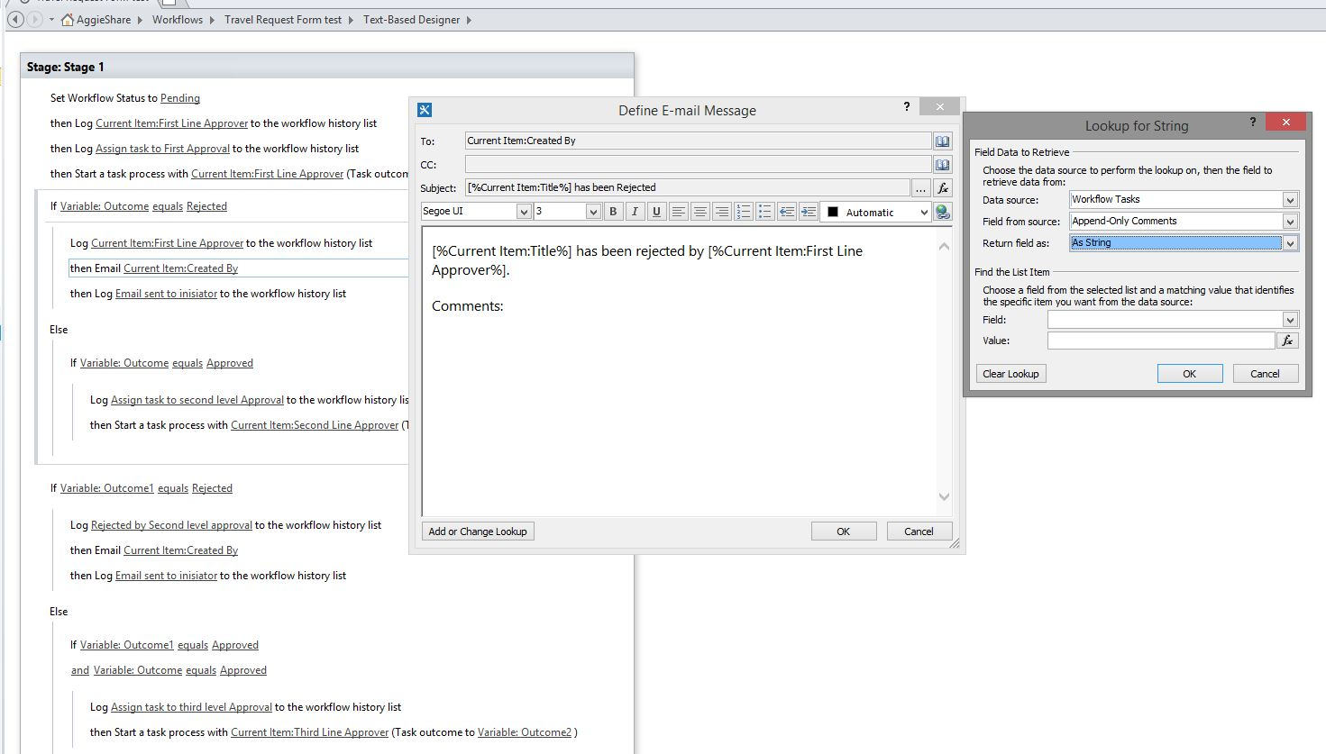 Getting Append Comments in Workflow tasks to show in email.