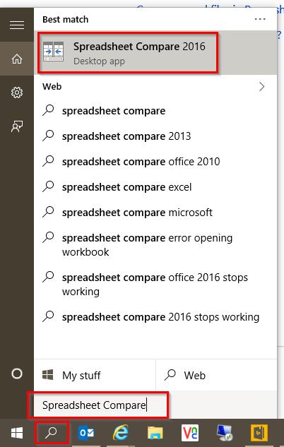 file compare option in excel 2016